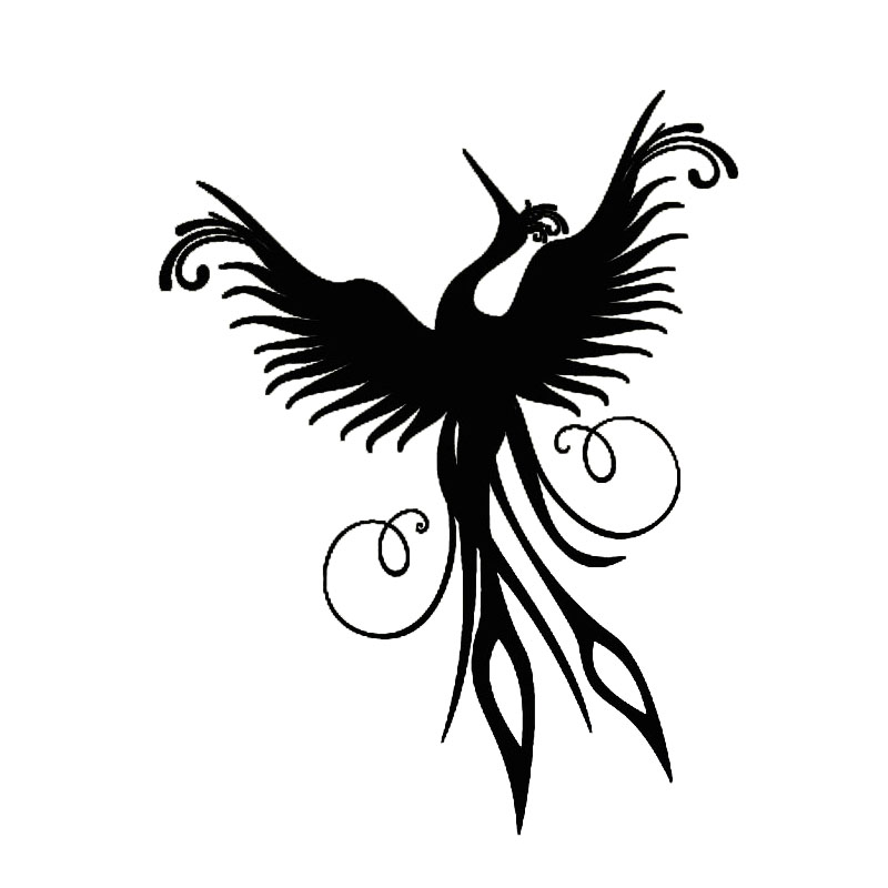 Hot Sale Home Decor Phoenix Wall Sticker Black Vinyl Removable Mural Living Room Decorative Flying Bird Wall Decal(China (Mainland))