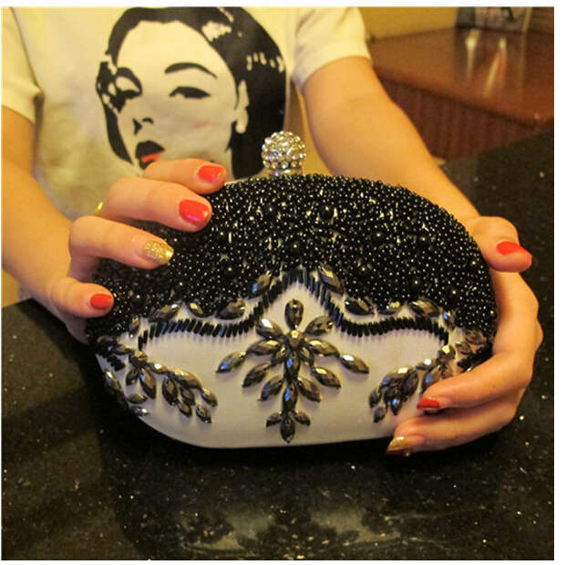 New 2015 Beaded PVC evening bags pu leather white clutch bag round shape party bag purse popular day clutches chains handbag<br><br>Aliexpress