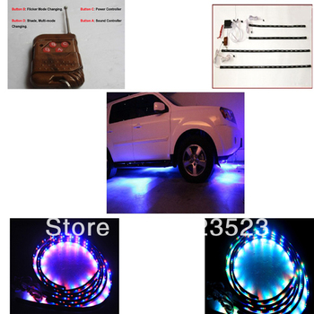 "Free Ship 7 Color Car Truck SUV Neon  LED Lights Kit 48"" x 2 & 36"" x 2 for Grille/Grid/Cab/Underpan w/ Wireless Keychain RC 12V"