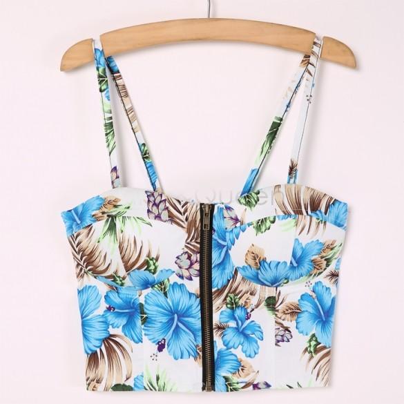 Women Slim Short Design Crop Tops Floral Printed Spaghetti Strap Bra Bustier Top Corsets Vest Camisole Tank 35 - King&Queen store