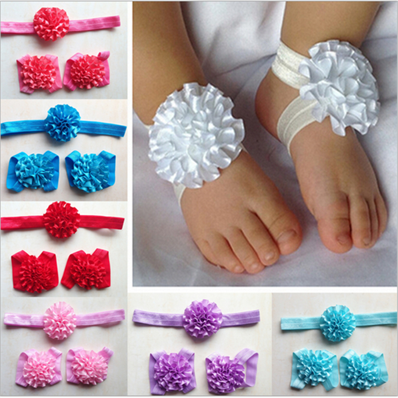 Hot Selling Elastic Hair Band Baby Headwear with Foot Anklet Girls Infant Bow Flower Hair Accessories Set(China (Mainland))