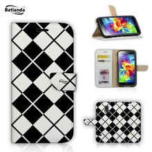 Flip Wallet PU Leather Cases For Samsung Galaxy S5 I9600 Coque With Stand & Card Slot Phone Cover Tartan Pattern Printed Case