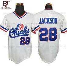 Cheap Mens #28 Bo Jackson Chicks Throwback Baseball Jersey White Movie Jersey Stitched American Baseball Shirts(China (Mainland))