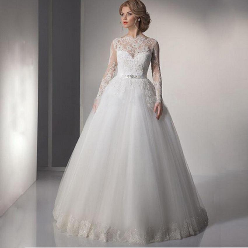 2016 Modest Long Sleeve Arabic Wedding Dresses A-Line Lace Romantic Plus Size Vintage Cheap Muslim Bridal Gowns(China (Mainland))