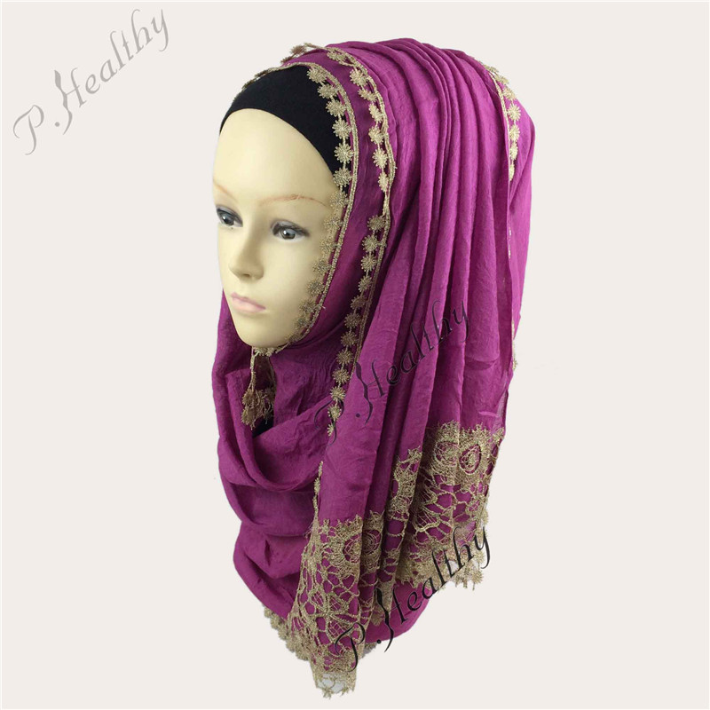 Hot Sale Lace Shiny Viscose Muslim Hijab Women Elegant Head Wrap Scarf Islamic Hijab Neck Cover 10Pcs/Lot Islamic Cap Ch062 Z30(China (Mainland))