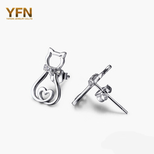 YFN Hot sale 925 Sterling Silver Cat Earrings Crystal Stud Earrings Fashion Jewelry Brincos For Women GNE5026(China (Mainland))