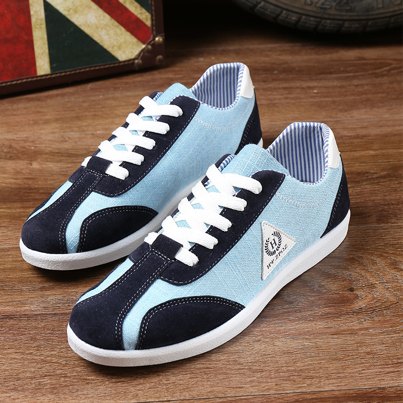 Fashion casual shoes breathable canvas shoes lace color board sports shoes(China (Mainland))