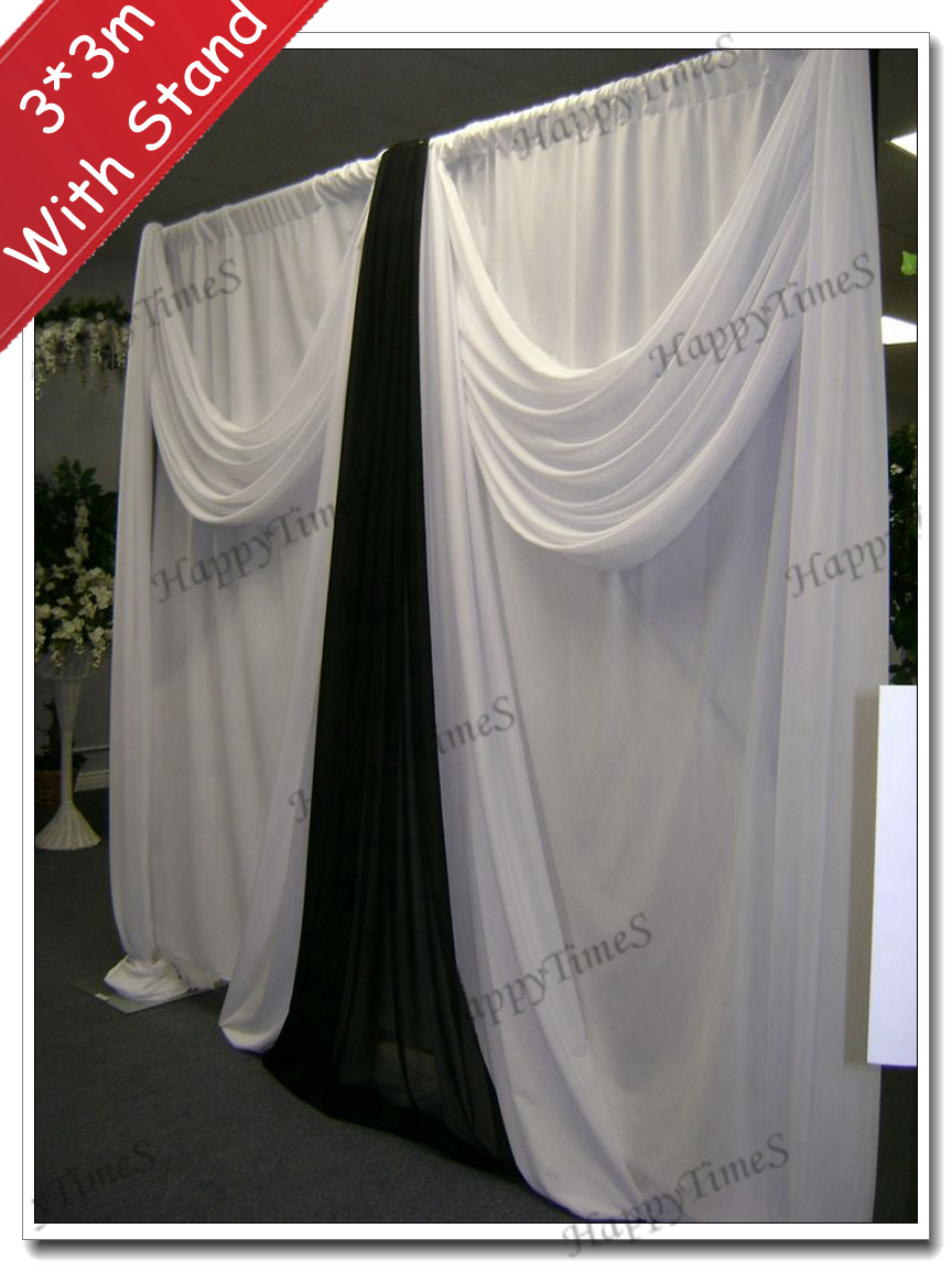 3m High 3m Wide Wedding Curtain Backdrop With Black And White Swag And Matched Stainless Steel Stand(China (Mainland))