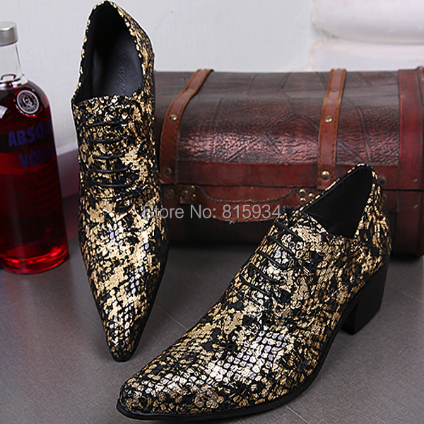 Golden retro pointed toe men's wedding shoes genuine leather tide male Korean hairdresser's personality high heel oxfords - all -An HU's store