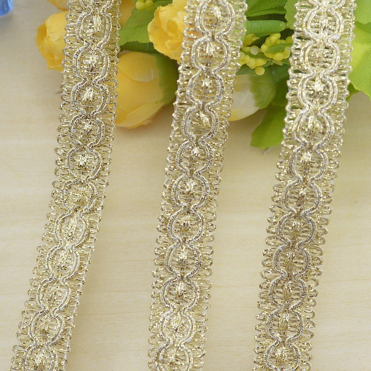 100yds Lace Factory Supplier Wholesale cheap lace trim crocheted sewing braided lace High quality 1.5cm gold braid lace ribbon(China (Mainland))