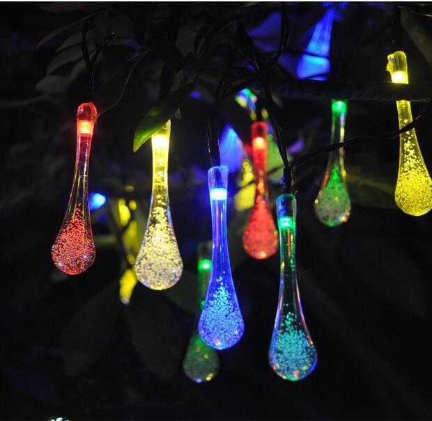 15 7 Ft 20 LED Water Drops Solar Powered Outdoor String