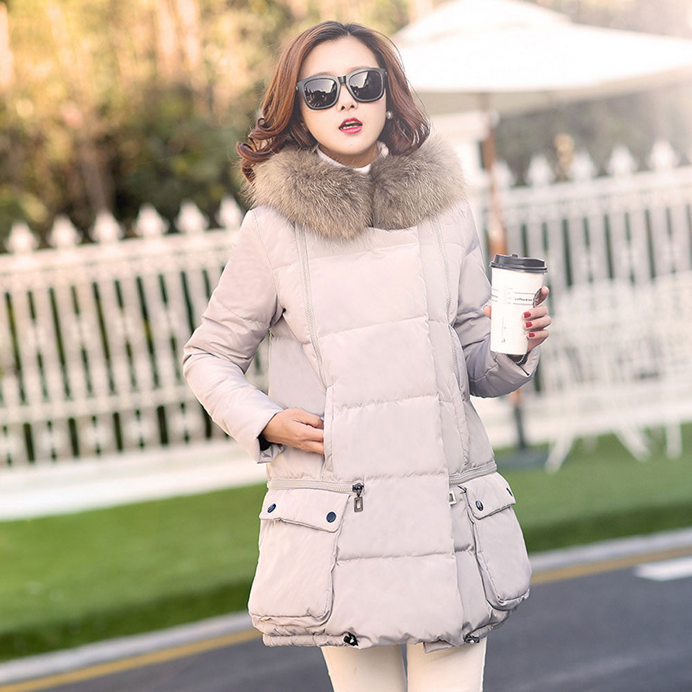 Thicken Warm Solid Fur Hooded Winter Jacket Women Parka Slim Long Womens Winter Jackets And Coats Fashion Lady Outerwear CA144