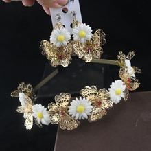 Hollow butterfly wedding headband and Pierced Flower Pendant Earrings bridal hair accessories wedding tiara head jewelry set(China (Mainland))