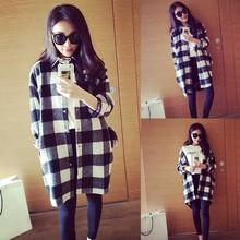 New Fashion Plaid Shirt Women  Loose Long Blouse Tops Check Shirt Leisure Black white(China (Mainland))