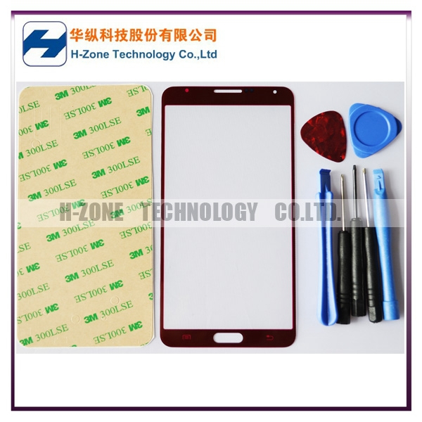 Free Shipping Red LCD Front Touch Panel Glass Lens Cover for Samsung Galaxy Note3 NoteIII N9000 + Free Opening Tools + Adhesive(Hong Kong)