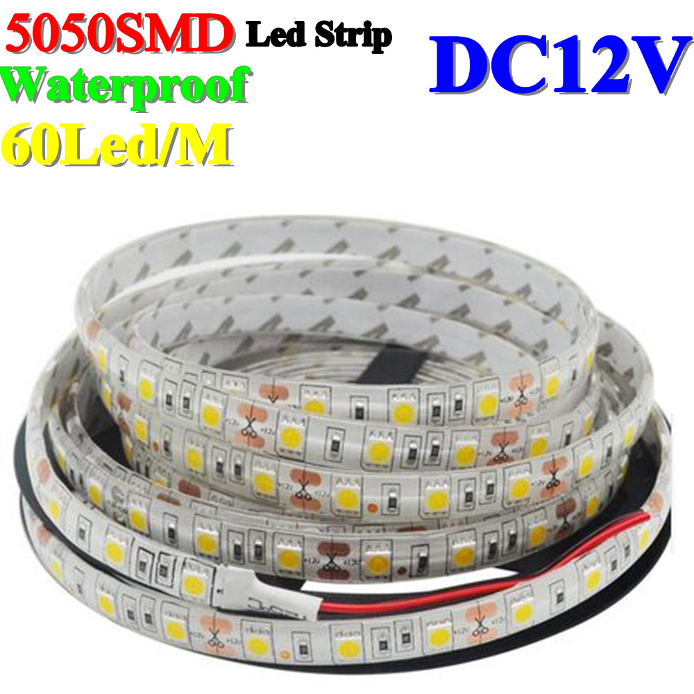 Waterproof 60Leds 5050SMD Led Strip Flexible Light IP65 DC12V 5m/roll 10m/roll White/Blue/Green/Red/Yellow/Warm white - Shenzhen BoJia Technology Co., Ltd. store