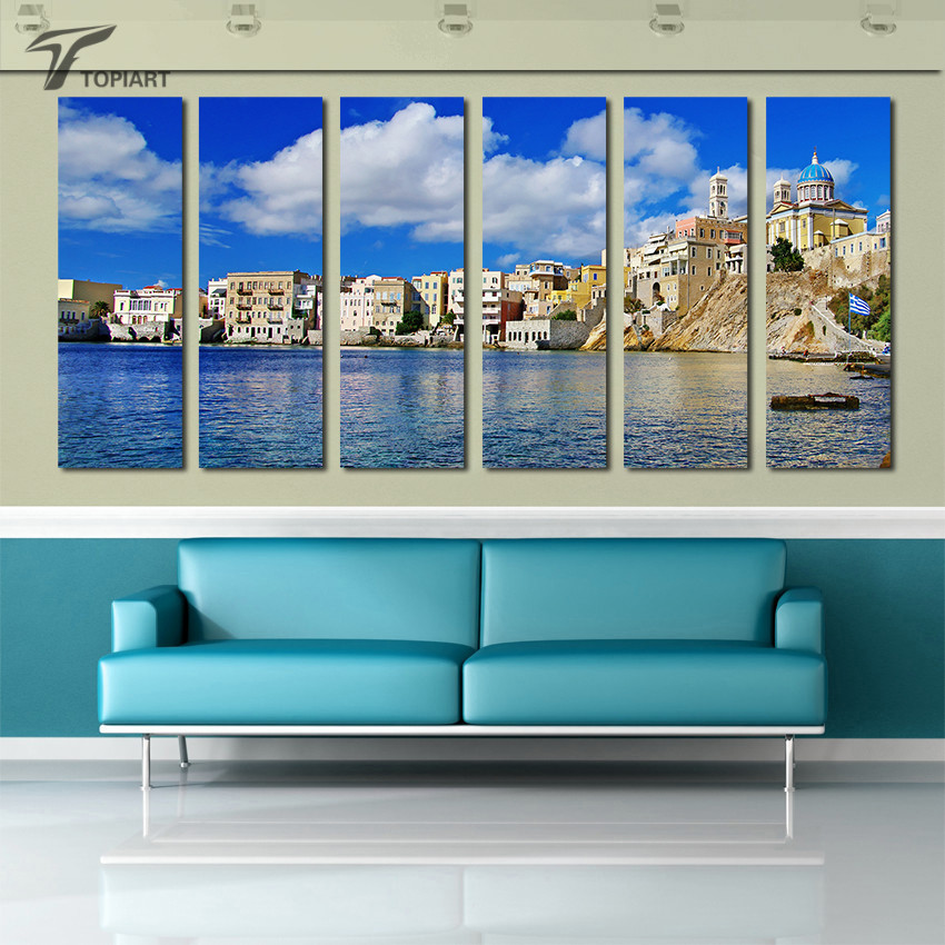 Island Sea Wall Art Greek Syros Canvas Print Blue Sky and Sea Landscape Painting Multi Panel Set For Room Decoration No Frame(China (Mainland))