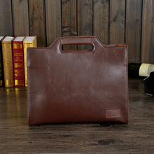 British Vintage Style Crazy Horse PU Leather Men Briefcase Bag Solid Office Men Business Bags New(China (Mainland))