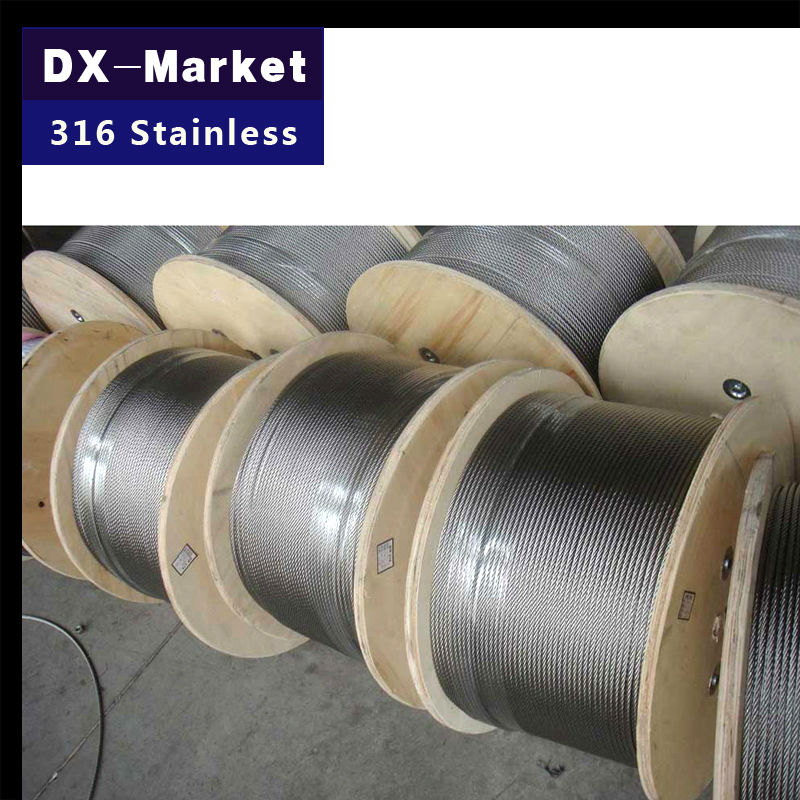 10mm , 2meter/lot , 7*19 , 316 stainless steel wire rope , Anti rust pulling rope Mold Fishing rope(China (Mainland))