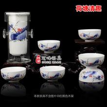 Freeshipping Glass kungfu black tea set blue and white tea Large red tea teapot 7pcs glass