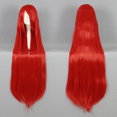 Synthetic Hair 100CM Long Straight Hair Wig Red Super Deal Wig Cosplay Party Fashion Cheap Wig(China (Mainland))