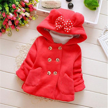 Wholesale autumn Winter Children's clothing baby girl's jacket coats thick bow cute jacket children outerwear Hooded Jacket