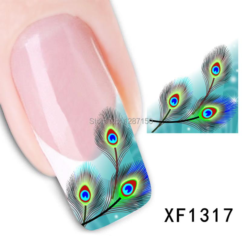 1pcs cute green fearhers Tip Nail Art nail sticker nails Decal nail tools Free shipping(China (Mainland))