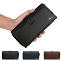 Men 100 Genuine Leather Travel Wallet Cool Chain ID Card Checkbook Zip Wallet Stylish Clutch Money
