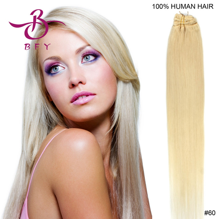 Brazilian Hair Clip In Human Remy Hair Extensions 100% Silky Straight Remy 8pcs/set 100gram 20inch 50cm #60 blond