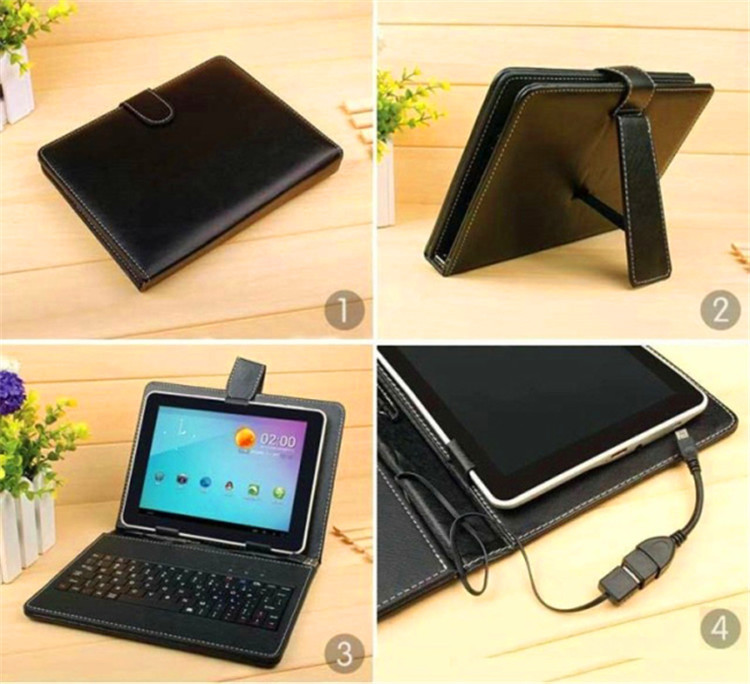 Colourful Portable USB Keyboard Faux Leather Case With Stylus Pen For 7 inch Tablet PC universal keyboard stand holster(China (Mainland))