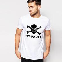 Easy Storm Slim Short Sleeve Skull 65% Cotton T Shirt Men Letter ST.PAULI Black Print T-shirt For Men Brand Clothing Tops & Tees
