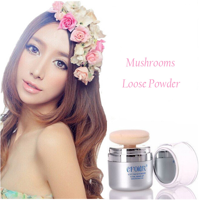 Mushrooms Loose Powder Natural Whitening Facial Concealer Finishing Powder Shimmer Loose Power Facial Beauty Make Up Tools(China (Mainland))