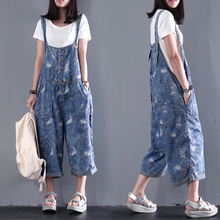 2016 women's new summer loose plus size casual pants bib water wash thin denim print jumpsuit