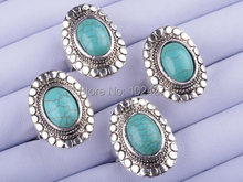 10Pcs/lot Wholesale Vintage Look Tibet Alloy Antique Silver Plated Oval Turquoise Bead Adjustable Rings(China (Mainland))