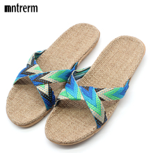 Hot 2016 New Candy Color Flax Home Slippers Striped Cut-outs Summer Indoor Slippers Flats Soft Cool Women Linen Slipper(China (Mainland))