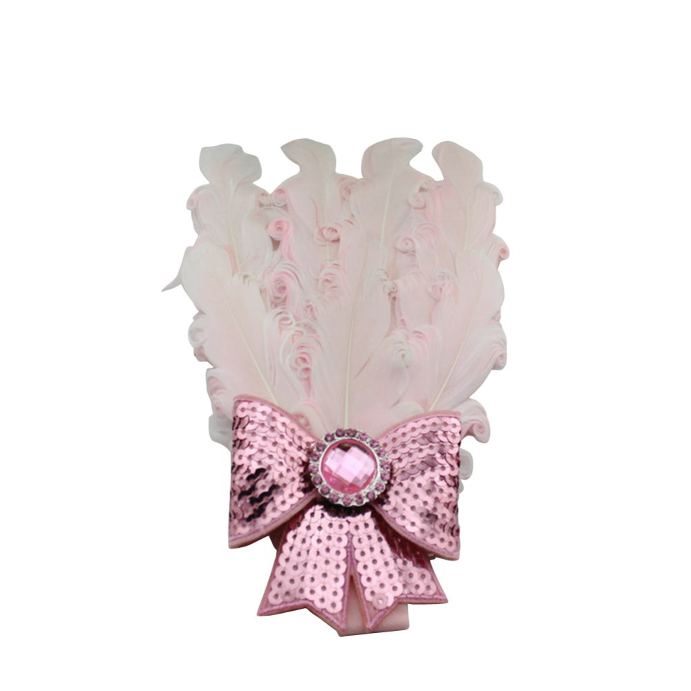 1 Piece Baby Girl Kids Lace Feather Head Accessories 2015 Cute Rhinestone Pearl Baby Flower Hairwears with Sequined Bows(China (Mainland))