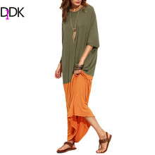 Buy DIDK Womens Casual Shift Long Dresses Autumn 2016 Ladies Color Block Round Neck Long Sleeve Loose Maxi Dress for $21.99 in AliExpress store