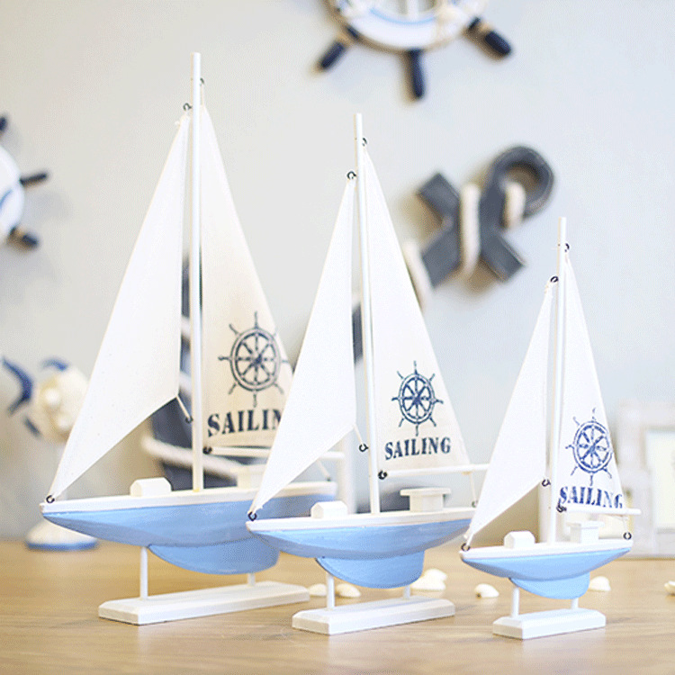 Mediterranean Nautical Home Decoration Boat Gift white sailing boat model/Wood Sailing Ship wooden Crafts cabinet ornaments(China (Mainland))