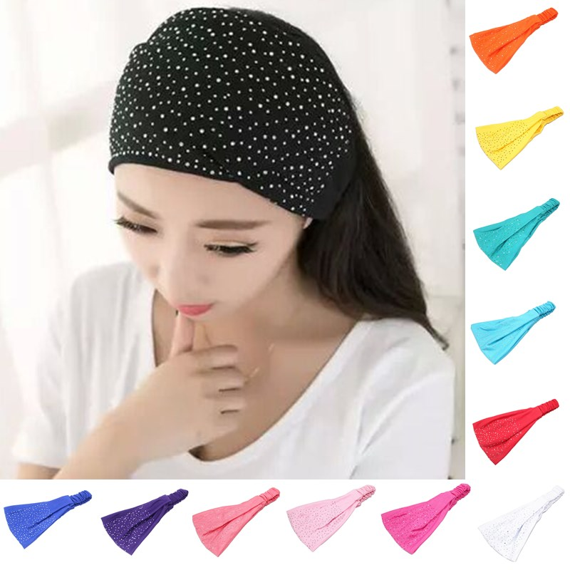 2016 Fashion Women New Girls Elasticity Head Wrap Soft Hair Band Rhinestone Headwear Turban Twist Headband(China (Mainland))