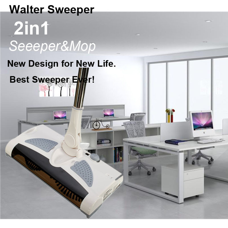 New 2 In 1 Cordless Electric Sweeper And Mop Rechargeable Battery Rotary  Rod 360 Degree For Carpet Floor Tiles Hard Wood