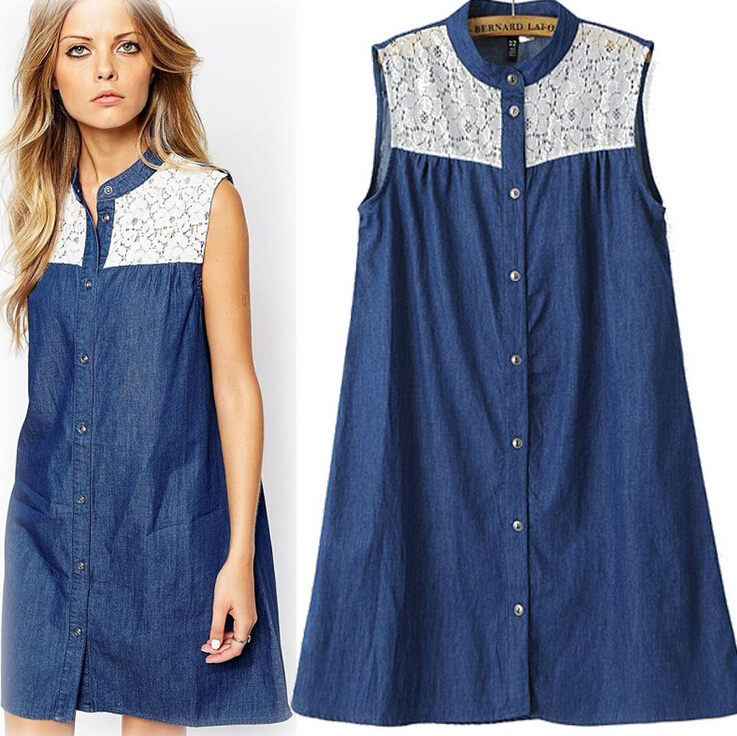 New Women In Button Down Sleeveless Denim Shirt Dress
