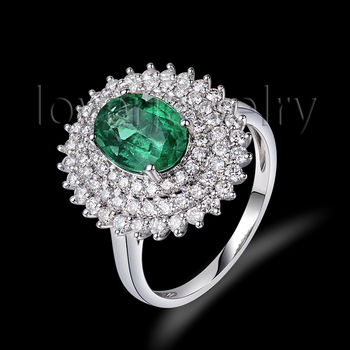Luxury Emerald Gemstone Rings 7x9mm Oval Cut Solid 18K White Gold Anniversary Ring BAB001401