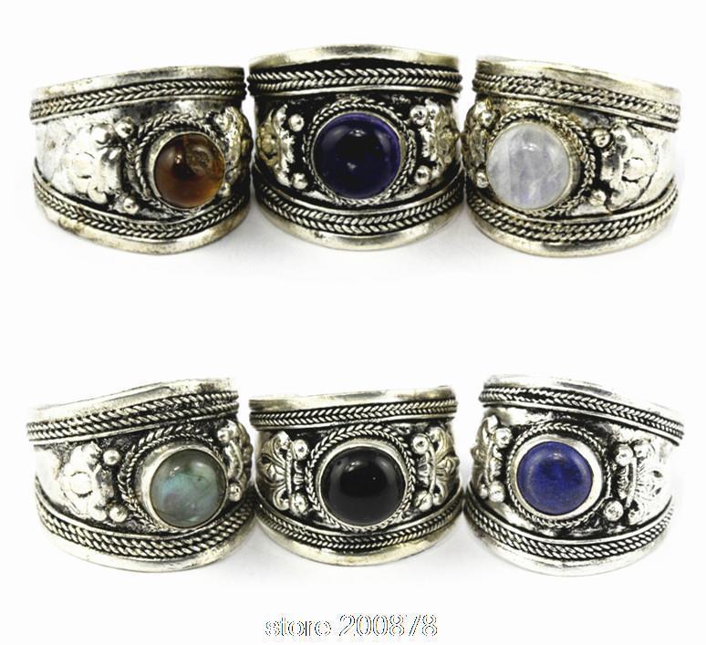 R003 Tibetan silver inlaid Various Stone Glass Bead Dorje Amulet Ring Nepal Original Antiqued Man Ring