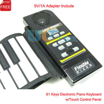 61 key Electronic Piano Keyboard Silicon Flexible Roll Up Piano with Touch Controll Panel MIDI Port Singapore Post