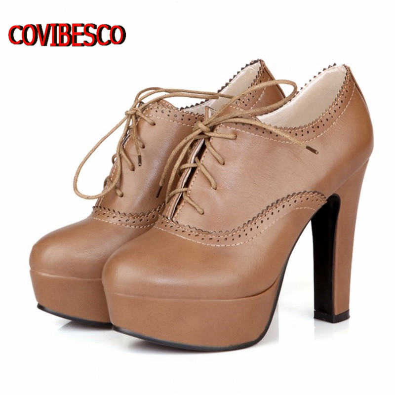 2014 new pumps,retro high heels square women spring shoes lacing sweet style single lady pumps
