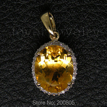 2015 New Vintage Oval Solid 14Kt Yellow Gold 4.82Ct Diamond Engagement Citrine Pendant E0003