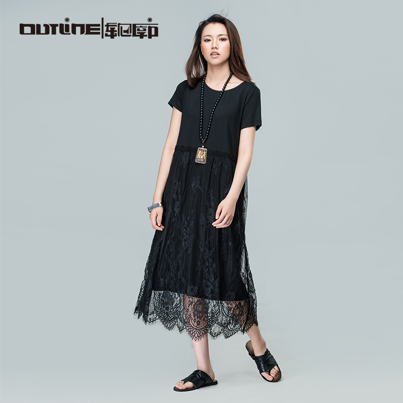 Outline Brand Black Lace Dresses Medium-long Loose Dress National Trend Casual Solid Dress Women Cotton Summer Dress L162Y034(China (Mainland))