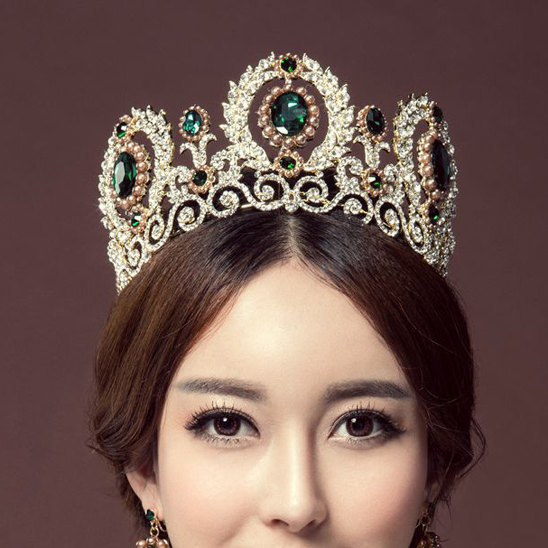 Western Hair Accessories European Designs Turquoise Women Pageant Prom Bridal Crown Green Tall Crystal Wedding Tiara(China (Mainland))