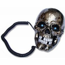 Skull Shape Telephone Crea tive Home Phone Black and White Antique Telephone Vintage Personality Skull Telephones Free Shipping