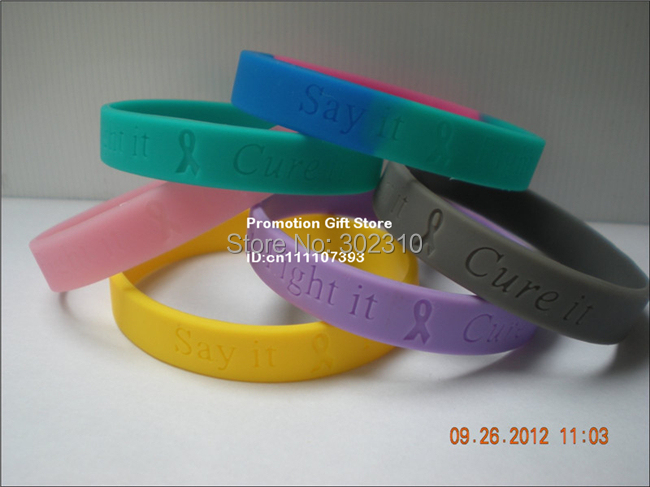 Breast Cancer Awareness Wristband, Say It, Fight It and Cure It, Cheap Custom Silicone Bracelet,100pcs/Lot, Free Shipping(China (Mainland))